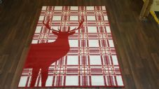 Modern Approx 6x4ft 120x160cm Woven Backed Stag Rugs Sale Top Quality Red Check